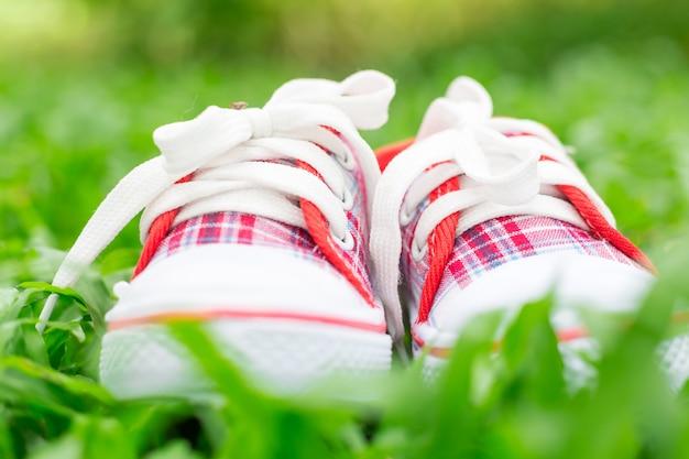 Nette kleine rote und weiße babyschuhe auf grünem gras