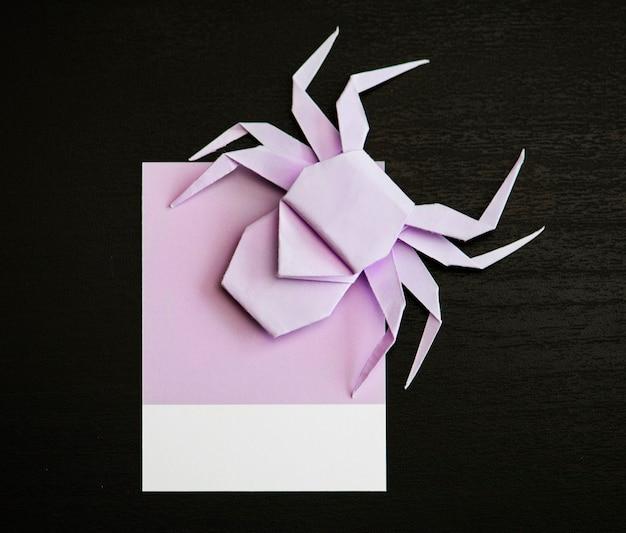 Nette kleine spinne auf einem papier