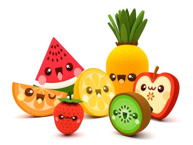 Nette und glückliche früchte kawaii zeichentrickfilm-figuren 3d auf einem weißen hintergrund