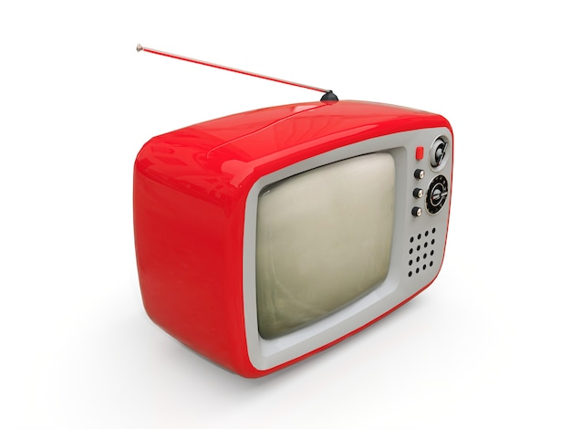 Netter alter roter fernsehapparat mit antenne auf einem weißen hintergrund. abbildung 3d.
