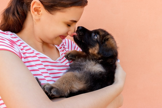 Netter deutscher schäferhundwelpe, der frauennase küsst