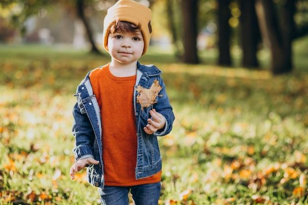 Netter kleiner junge, der mit blättern im herbstpark spielt