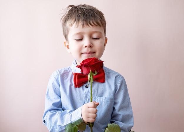 Netter kleiner kaukasischer junge in fliege mit roter herzgeschenkbox halten rose auf rosa hintergrund. valentinstag.