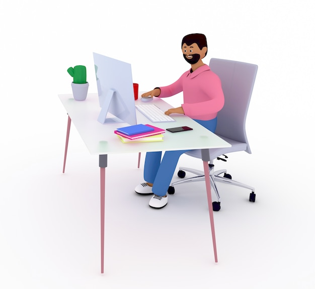 Netter mann mit bart sitzt am schreibtisch mit computer. freiberufler, büroangestellter, manager, ist in arbeit.