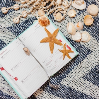 Netter offener kalender mit muscheln und seesternen