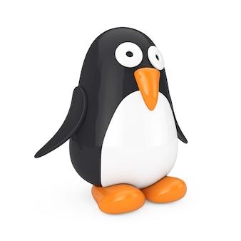 Netter schwarzweiss-spielzeug-karikatur-pinguin auf einem weißen hintergrund. 3d-rendering