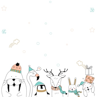 Netter seelöwentier-weihnachtskartenhintergrund