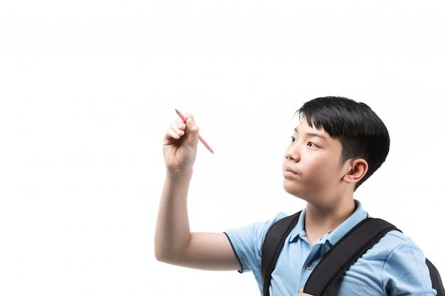 Nettes asiatisches kind mit bleistift
