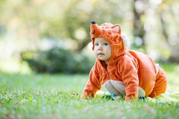 Nettes baby gekleidet im fuchskostüm, das auf grünem gras im park kriecht