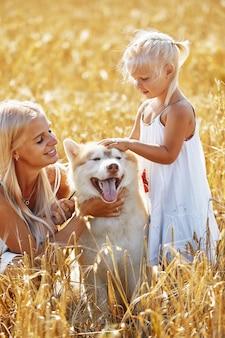 Nettes baby mit mutter und hund auf weizenfeld glückliche junge familie genießen zeit zusammen an der naturmutter, kleines baby und hund husky, die im freien zusammengehörigkeit, liebe, glückskonzept ruhen.