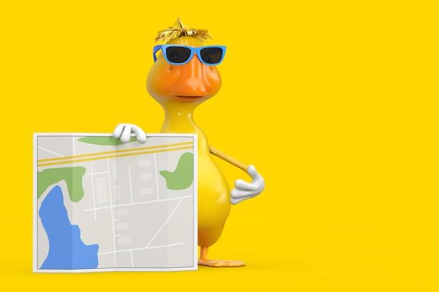 Nettes gelbes karikatur-enten-person-charakter-maskottchen mit abstrakter stadtplan-karte auf einem weißen hintergrund. 3d-rendering