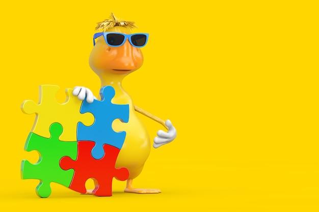 Nettes gelbes karikatur-enten-person-charakter-maskottchen mit vier stücken des bunten puzzles auf einem gelben hintergrund. 3d-rendering