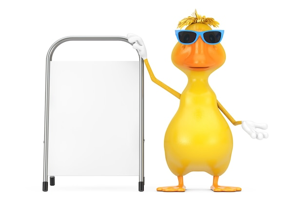 Nettes gelbes karikatur-enten-person-charakter-maskottchen mit weißem leerem werbungs-förderungs-stand auf einem weißen hintergrund. 3d-rendering