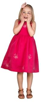 Nettes kleines mädchen im rosa kleid lokalisiert auf weißem hintergrund