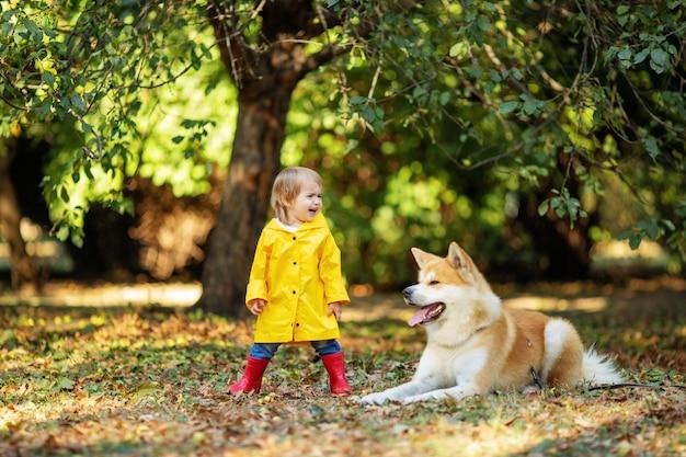 Nettes kleines mädchen neben rotem hund, der im herbstpark schreit