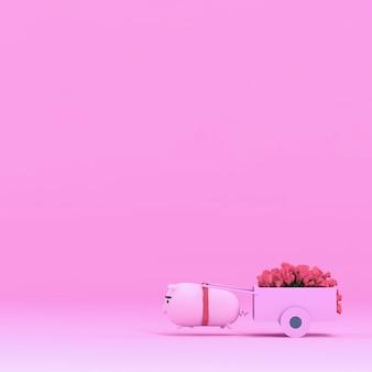 Nettes lustiges schwein und schöne rotrose, wiedergabe 3d