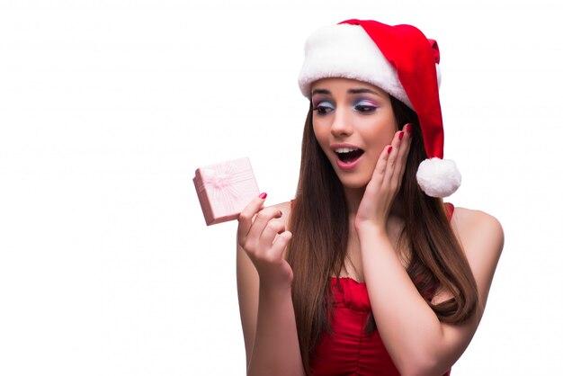 Nettes mädchen im weihnachtskonzept getrennt auf weiß