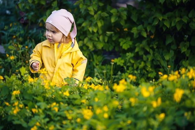 Nettes mädchen in einer gelben jacke sammelt blumen auf einer wiese. ein kind stand im frischen grünen gras zwischen den frühlingsblumen. ein kleines kind macht einen strauß aus den ersten wilden gelben blumen
