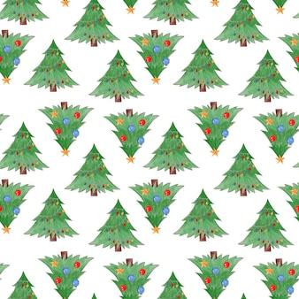 Nettes nahtloses muster des aquarells mit grünen weihnachtstannenbäumen mit kugeln und kugeln