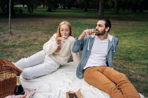 Nettes paar, das wein während eines picknicks trinkt