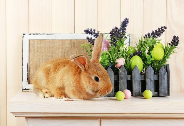 Nettes rotes kaninchen mit ostereiern auf regal auf holzwandhintergrund