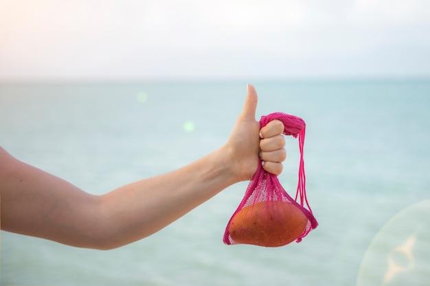 Netzbeutel mit früchten in weiblicher hand. stilvolle junge frau hand halten mesh-einkaufstasche an hellgrauer wand. modernes wiederverwendbares einkaufskonzept.kein gesicht