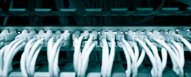 Netzwerk-ethernet-kabel werden mit dem server-rack im rechenzentrum der universität verbunden