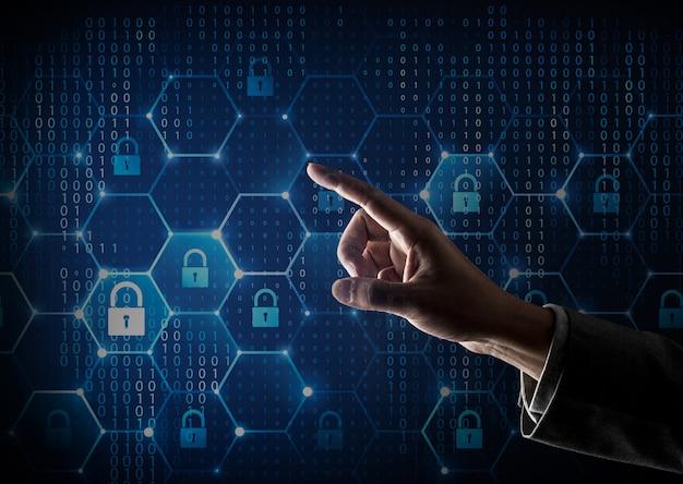 Netzwerk-firewall und menschliche finger