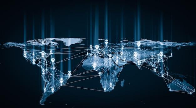 Netzwerk und globale erdverbindung in innovativer wahrnehmung