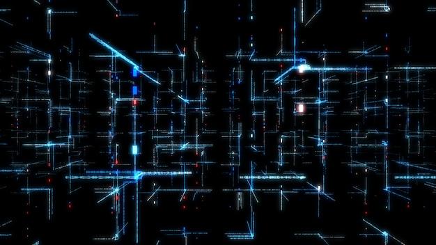 Netzwerkdatenhintergrund der digitaltechnik-3d. Premium Fotos