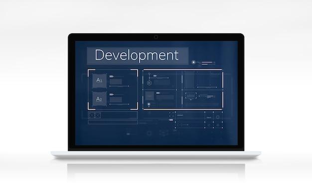 Netzwerkgrafik-overlay-banner auf laptop