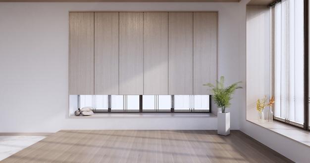 Neu - leerer raum, modernes japanisches holzinterieur, vintage - tropischer stil .3d-rendering