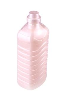 Neue durchsichtige plastikflasche mit einer rosa flüssigkeit zum waschen