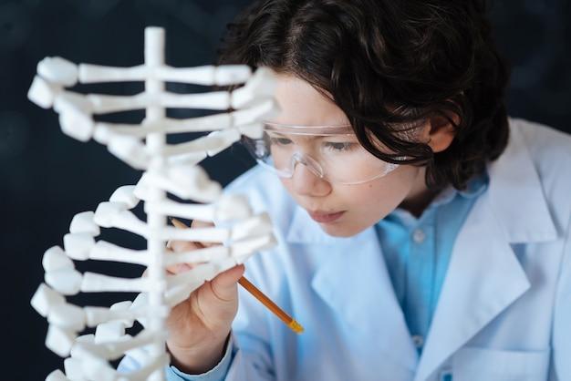 Neue fähigkeiten entwickeln. neugierig involvierte wunderkindschüler, die im labor stehen und das chromosomenmodell erforschen, während sie am genomikprojekt arbeiten