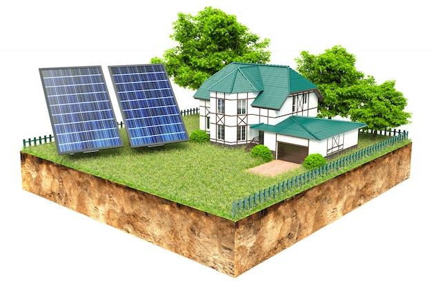 Neue familienhäuser mit sonnenkollektoren