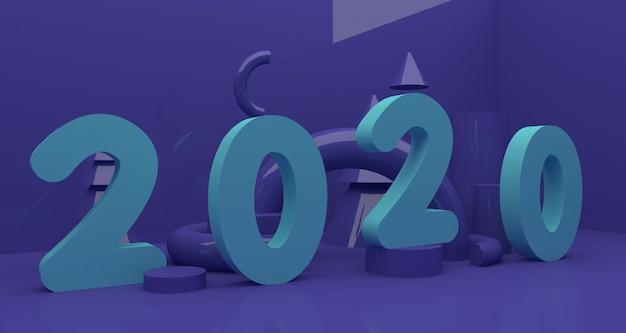 Neue jahre 2020 3d tiefen- und realismushintergrund. 3d-rendering.