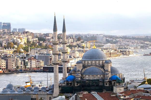 Neue moschee mit bosporus-straße und stadt, istanbul, türkei