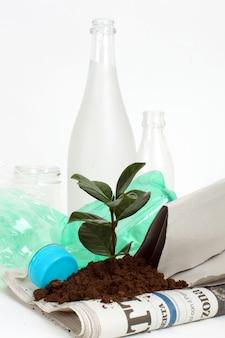 Neue pflanze wächst aus dem müll