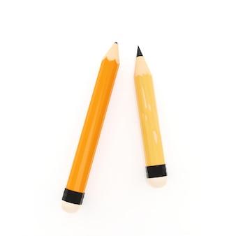 Neuer bleistift mit altem und scharfem bleistift auf leerem weißem papier, illustrationsbild 3d, bildungslernkonzept.