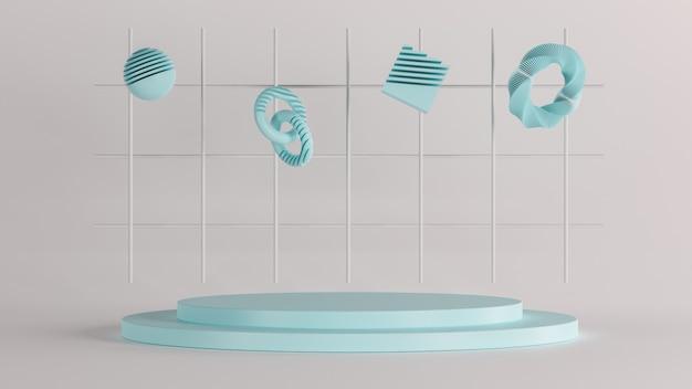 Neuer luxushintergrund der 3d-wiedergabe, blaue objektformen auf weißem boden, 3d-illustration
