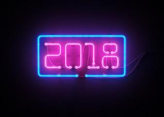 Neues Jahr 2018 gemacht von der Wiedergabe des Neonalphabetes 3d
