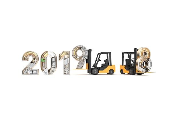 Neues jahr 2019 gemacht vom mechanischen alphabet und vom gabelstapler