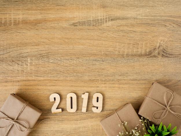 Neues jahr 2019 geschenkboxen-randgestaltung