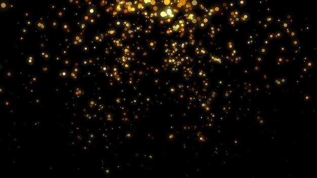 Neues jahr 2020. bokeh hintergrund. leuchtet abstrakt. frohe weihnachten hintergrund. gold glitzerndes licht. defokussierte partikel. isoliert auf schwarz überlagerung. goldene farbe