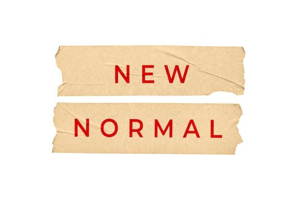 Neues normales konzept. bandaufkleber mit text lokalisiert auf weißem hintergrund