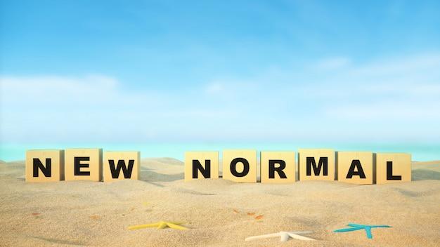Neues normales wort am strand mit blauem himmel