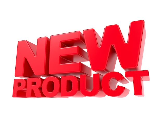 Neues produkt - roter 3d-text. auf weißem hintergrund isoliert.