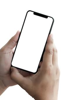 Neues telefon technologie smartphone mit leeren bildschirm und modernen rahmen weniger design