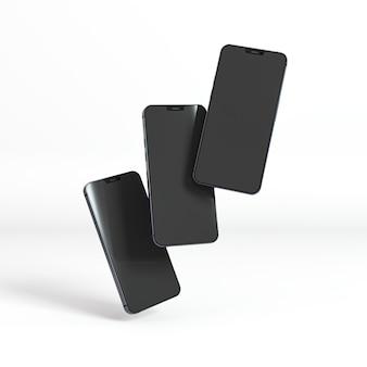 Neues telefonkonzept mit schwebenden smartphones