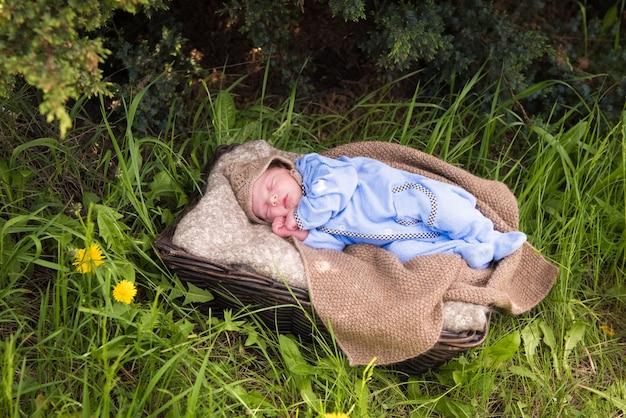 Neugeborenes baby schläft in einem korb im sommerpark